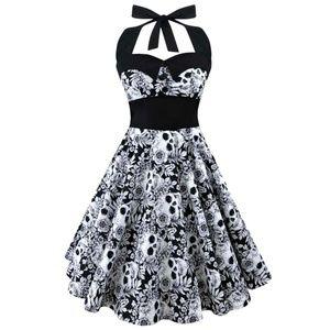 Sleeveless Halter Top Sugar Skull Dress